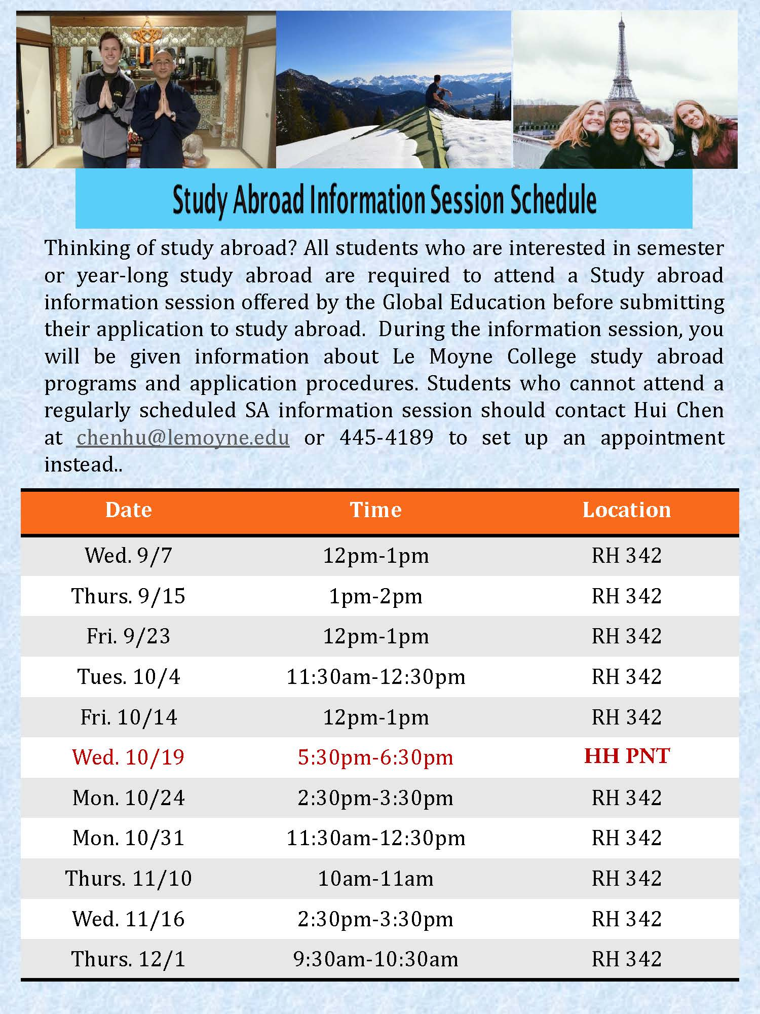 Upcoming Information Sessions