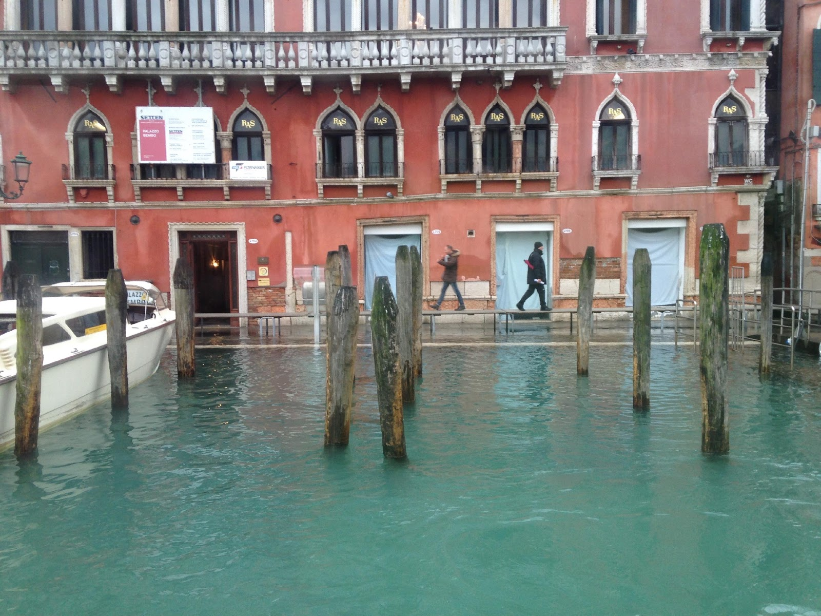 High Tide in Venice; Tables set up so people can walk