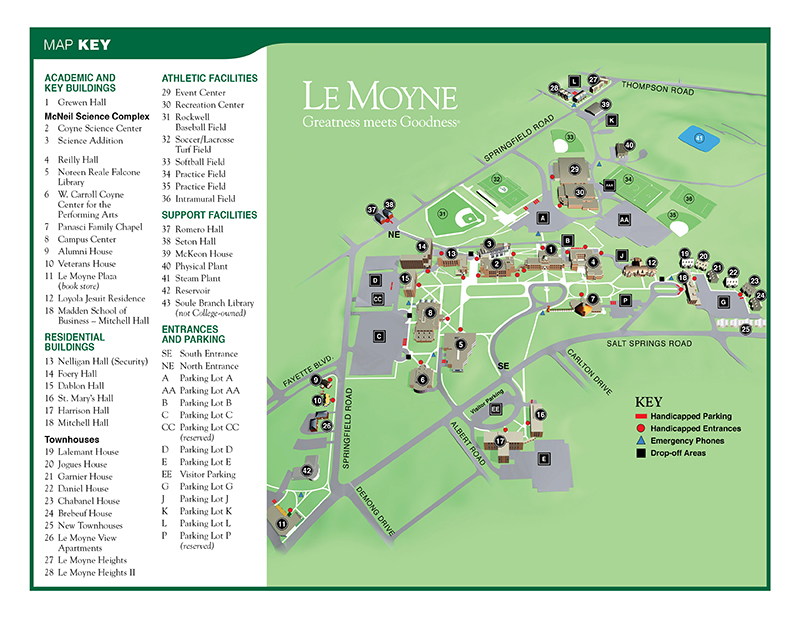 map of Le Moyne College Campus