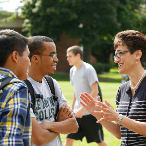 Le Moyne President Linda LeMura meets with students