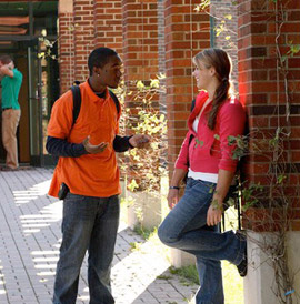 Students outside chapel